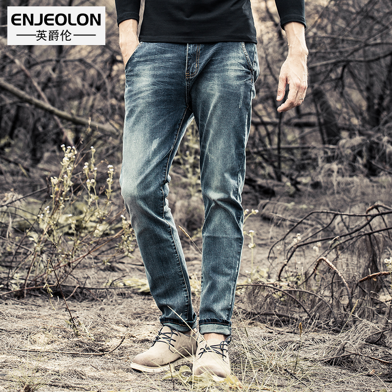 Enjeolon brand top quality long casual trousers jeans men, cotton clothing males Causal solid blue jeans Pants K6003