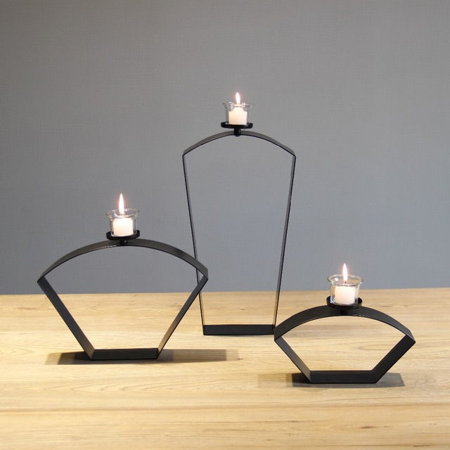 Chinese Style Sector Black Metal Tabletop Simple Candle Holder Iron  Tealight Candle Stand Home Decorative Accessories