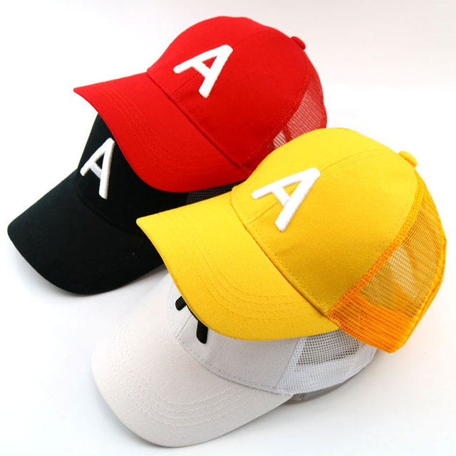 Children letter baseball cap embroidery A mesh trucker cap 3-7 Years adjustable size Black White Yellow Red
