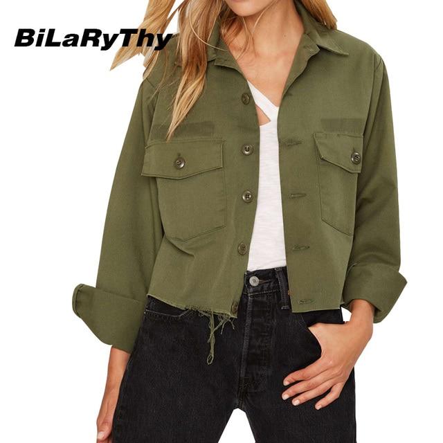 BiLaRyThy Autumn Winter Women's Long Sleeve Turn Down Collar Frayed Short Jacket Boyfriend Style Army Green Black Woman Outwear