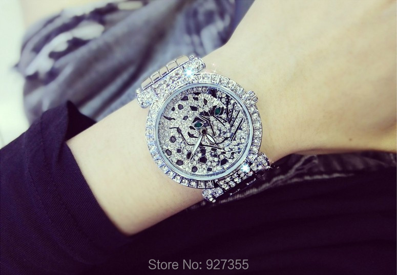 Luxury Women Rhinestone Watches Lady Diamond Dress Watch Stainless Steel Band Leopard Bracelet Wristwatch ladies Crystal Watch 5