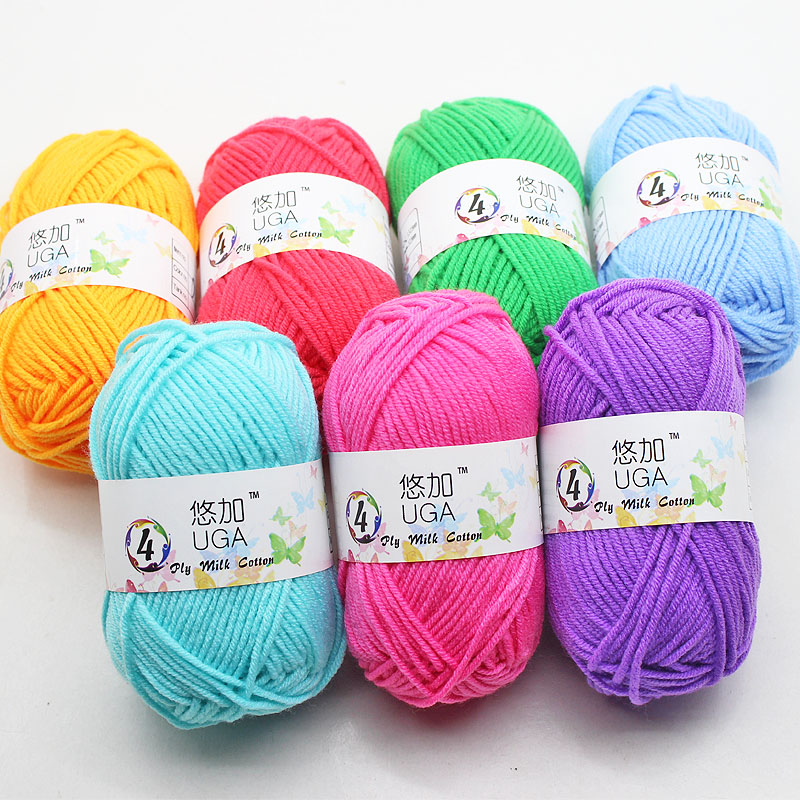 UGA 4 PLY Combed Soft Milk Cotton Acrylic Blended Yarn For Baby Hand Knitting Crochet Yarn For DIY Sweater Sock Scarf Hat
