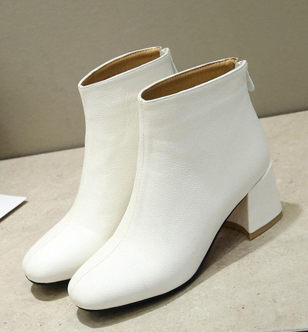 Otoño Martin 2018 Simple Solo White Tacones black E Para Kncokar white Estilo black Botas beige Mujeres Invierno Viaje Con Un Chunky beige Corto rwSYaqr
