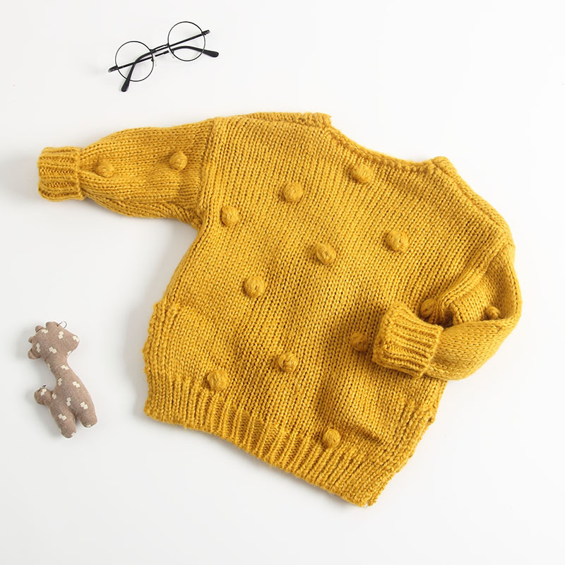 Image 3 - Baby Hand made Bubble Ball Sweater Knitted Cardigan Jacket Baby Sweater Coat Girls Cardigan Girls Winter Sweaters-in Sweaters from Mother & Kids