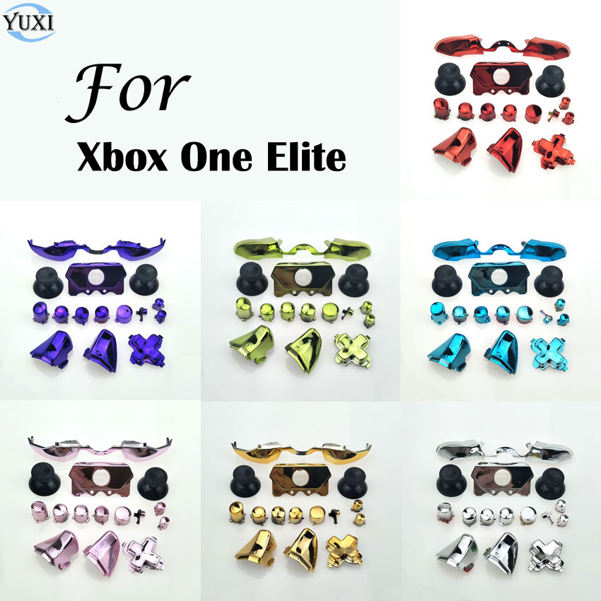 YuXi Bumper Triggers Buttons Replacement Plastic & Chrome Full Set D-pad LB  RB LT RT ABXY Button For Xbox One Elite Controller