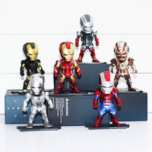 6pcs/lot 9cm The Iron Man 3 MK42 MK2 Egg Attack Q Version PVC LED Light & Action Figure Collection Toy Model
