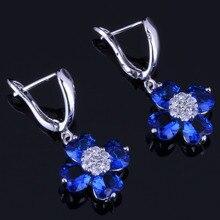 Delicate Heart Shaped Blue Cubic Zirconia White CZ 925 Sterling Silver Drop Dangle Earrings For Women V0770