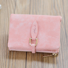 LLJUNDUI Vintage PU Leather Ladies Short Wallet Female Buckle Matte Wallet Student Female Designer Brand Clutch Card Holder Pink
