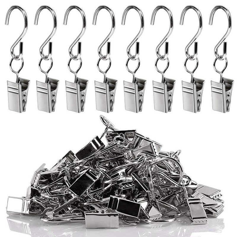 20 Pack Metal Hanging Clips Hook Clamp Hanger for Curtain String Light Gold