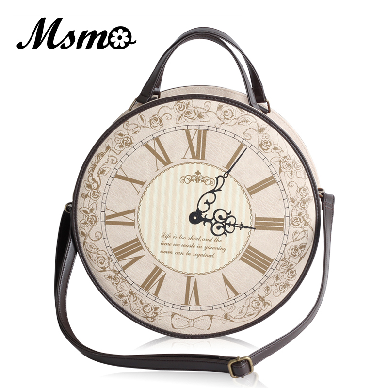 Vintage Round Clock Designer Bag Japan Lolita Style 3 Ways Shoulder Bag Lady Girls Alice Handbag Back pack sa212 saddle bag motorcycle side bag helmet bag free shippingkorea japan e ems