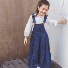 2019 Autumn Kids Dresses for Girls Denim Blue Strap Big Girl SunDress Children Casual Girl Jeans Dress deguisement enfant E0234