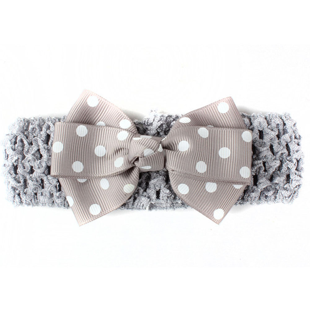 Print Dots Pinwheel Grosgrain Ribbon Bow Headband For Toddler Baby Children Knitted Stretch Turban Hair Band Hair Accessories 1 pcs baby kids girl children toddler infant print flower floral bow hairband turban knot rabbit headband hair band accessories