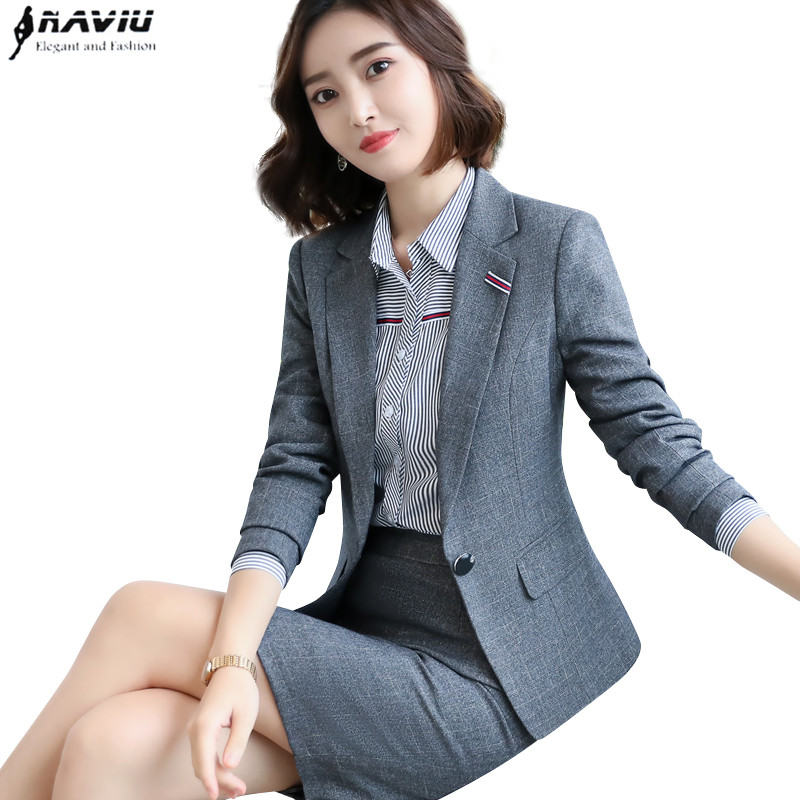 New fashion design women skirt suits slim long sleeve blazer with skirt two pieces set office