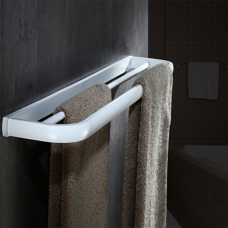 Nordic  White Paint Solid Brass Towel Rack, White Bathroom, Double Bar Wall Mounted Bathroom Hardware Set the ivory white european super suction wall mounted gate unique smoke door