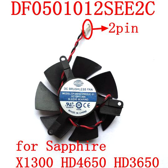 Free Shipping DF0501012SEE2C 2PIN For  Sapphire X1300 HD4650 HD3650  Graphics  Card Fan