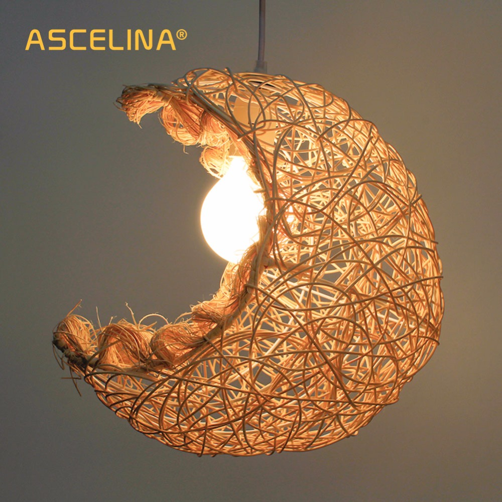 Moon Pendant Light Rattan Pendant Lamp Manual Weaving American Rustic Modern Bedroom Living Room Children Home Decoration Light