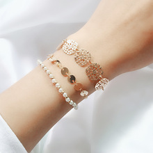 SUKI Bohemian Style Carved Metal Pearl Beaded Piece 3pcs/set Bracelet Multi-layer Bangle Simple Hollow Out Set
