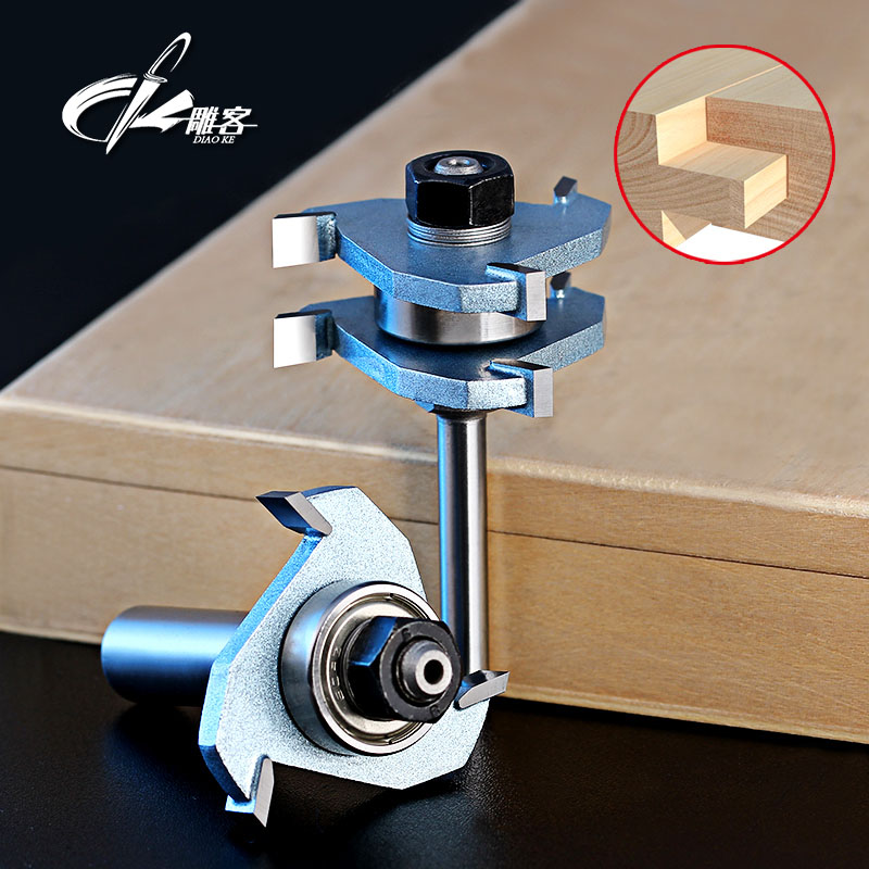2pcs 1/2 Inch Shank Wood Working Cutter T-handle Rail And Stile Router Bit High Quality Matched Tongue and Groove Router Bit 2pcs tongue