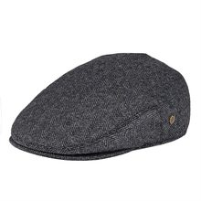 VOBOOM Black Wool Tweed Herringbone Flat Cap Men Newsboy Caps Boina Women Beret