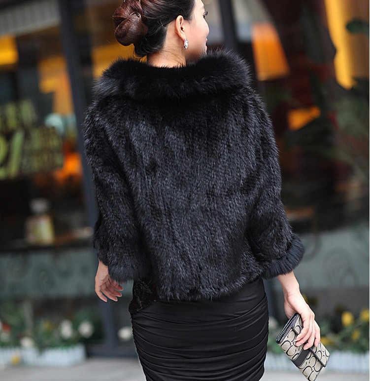 Autumn Winter Ladies' Genuine Knitted Mink Fur Shawls Fox Fur Collar Women Fur Pashmina Wraps Bridal Cape Coat Jacket VK1457