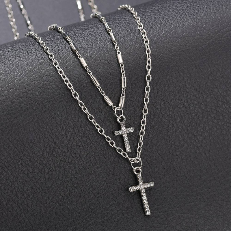 NIUYITID Religion Double Layer Chain With Cross Crystal Pendant Necklace Jesus Men Women Jewelry collier femme 2019 (4)