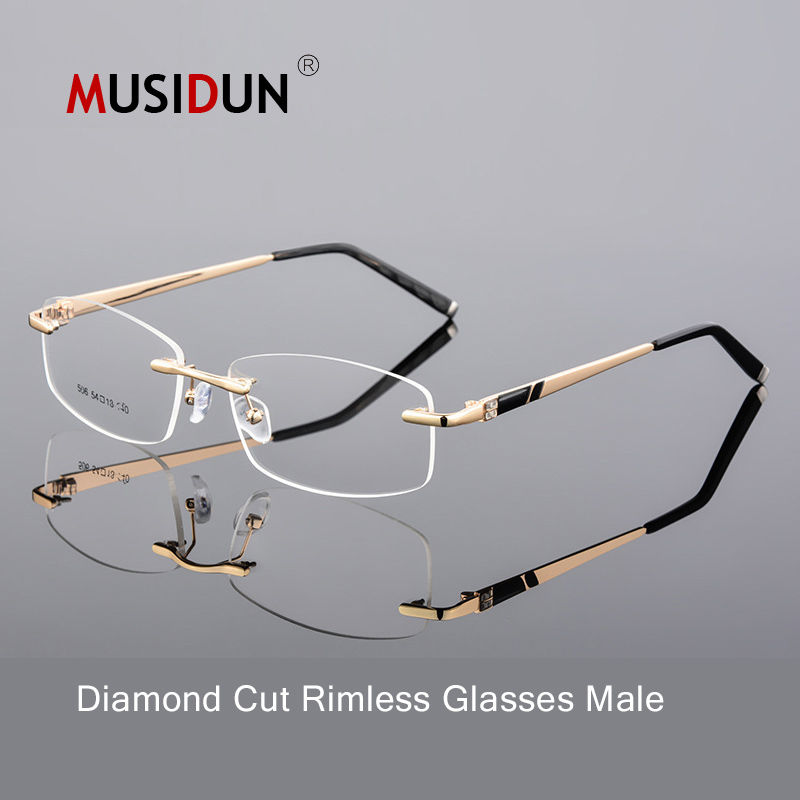 Optical glasses man high quality diamond trimming Cutting rimless eyeglasses anti blue myopia Gold frame for male Eyewear Q107 in Men 39 s Eyewear Frames from Apparel Accessories