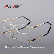 5f9542d5c060 Optical glasses man high quality diamond trimming Cutting rimless eyeglasses  anti-blue myopia Gold frame