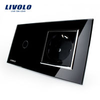 Free Shipping Livolo Touch Switch With EU Standard Socket Black Crystal Glass Panel 16A EU Socket
