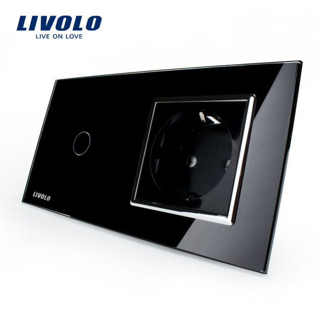 Free Shipping, Livolo Touch Switch with EU Standard Socket , Black Crystal Glass Panel, 16A EU Socket, VL-C701-12 / VL-C7C1EU-12