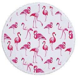 Flamingo Round Beach Towel with Tassel Microfiber Sunbathe Bath Towels Throw Picnic Blanket Bikini Covers Playa Shawl Tablecloth