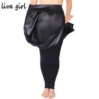 Plus Size XL 3XL 5XL Women Black Elegant Faux PU Leather Leggings Faux Leather Stretch Pants