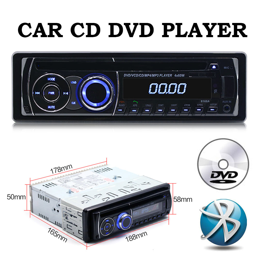 small resolution of 1 universal 1 din bt bluetooth car remote control fm car radio audio tuner mp3 cd dvd stereo audio music player