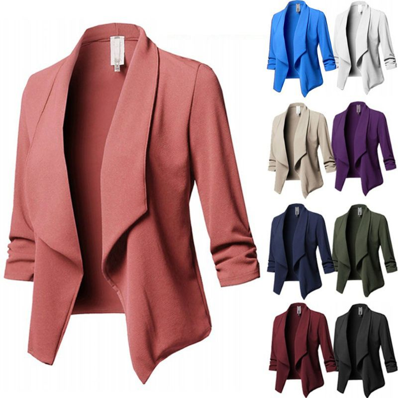 2018 Womens Three-Quarter Sleeve Office Lapel Coat Open Front Cardigan Jacket Solid Plus Size Ladies Collar Suit Jacket Coat