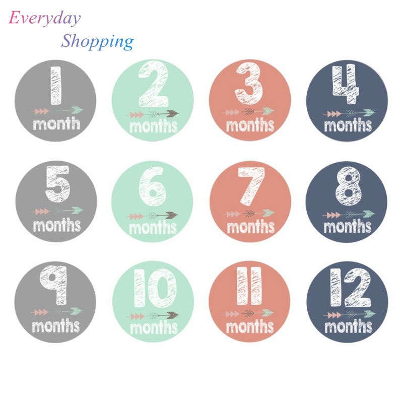 12PCS Baby Monthly Stickers Novelty 1-12M Milestone Stickers Memo DIY Scrapbook Album Anti-dirty Growth Prop Hand And Foot Souve
