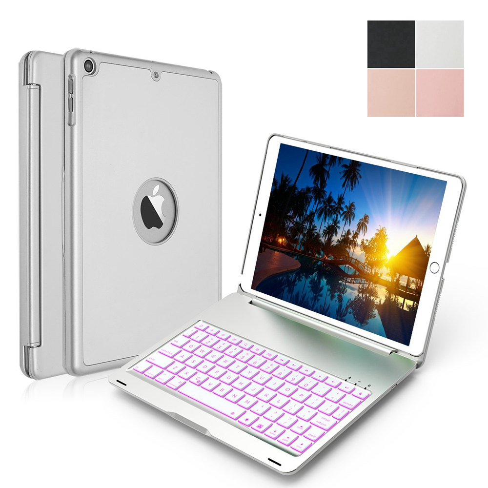 For iPad 9.7 2018 A1893 A1954 Slim 7 Colors LED Backlit Smart Clamshell Aluminum Wireless Bluetooth Keyboard Case Stand Cover