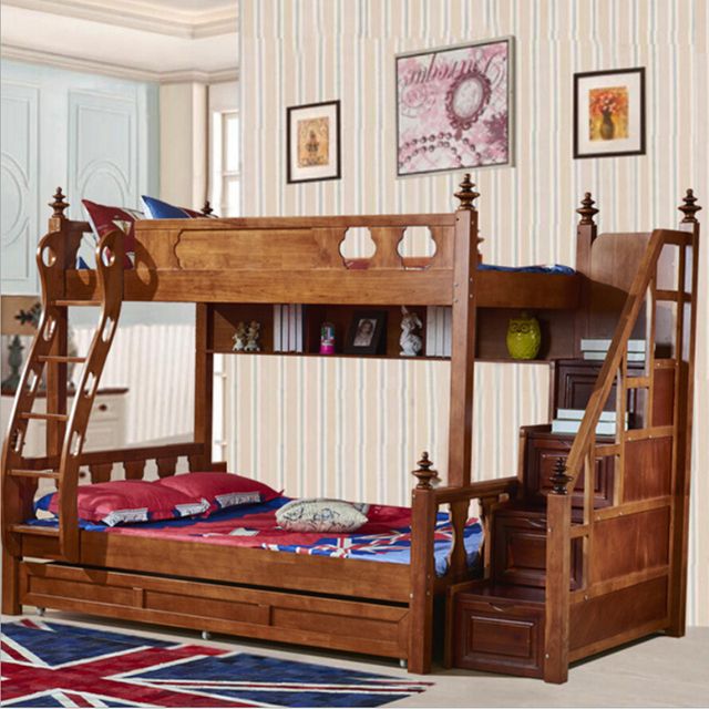 Webetop American Country Style Bunk Bed Mother Son Bed Double Type