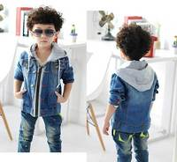Boys Hoodies Hooded Patchwork Jeans Jackets Coat Kids Boy Fashion Coat Autumn Handsome England Style Outerwear
