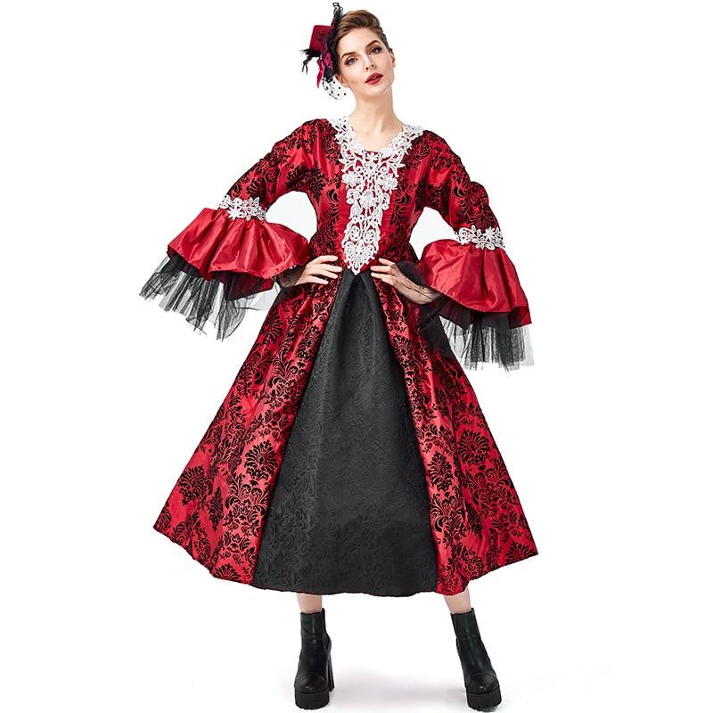 Renaissance Medieval Gothic Vampire Kostüme Cosplay Halloween Ball Modell Landebahn Kostüm Palace Kleid Hut Petticoat Vollen Satz - 3