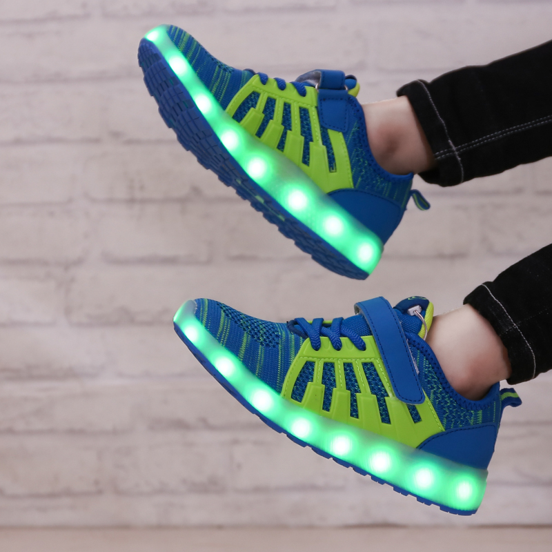 DJSUNNYMIX USB Charging Basket Led Children Shoes With Light Up Kids Casual Boys&Girls Luminous Sneakers Glowing Shoe