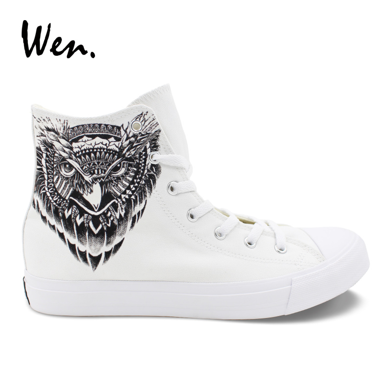 Wen Totem Owl Shoes Hand Painted White Canvas Sneakers Men Women High to Help Lacing Flat Vulcanized Shoe Big Size Plimsolls цена 2017