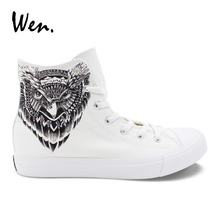 Wen Totem Owl Shoes Hand Painted White Canvas Sneakers Men Women High to Help Lacing Flat Vulcanized Shoe Big Size Plimsolls