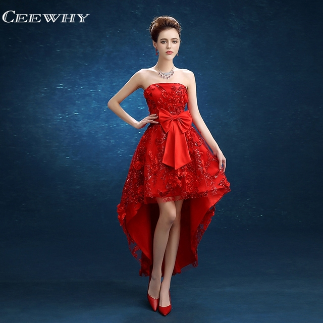 91646fa3bd1 CEEWHY rouge épaule dénudée Applique cheville longueur Robe de soirée  courte devant Long dos formel robes