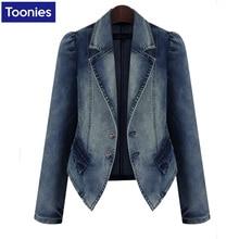 Denim Jacket Women's Jeans Coat Slim Long Sleeved Suit Turn Down Collar Jacket Female Winter Coat Women Basic Coat Casacos Femin