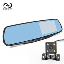 лучшая цена ChonChow Dual Lens Car Camera Rearview Mirror Auto Dvrs Cars DVR Recorder Video Registrator Full HD 1080P Dash Cam