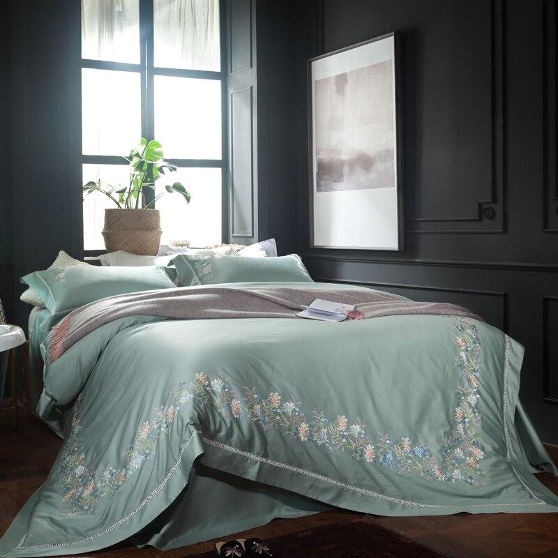 2018 Элегантная вышивка Постельное белье queen Размеры Комплект постельного белья для девочек Зеленый Синий пододеяльник домашнее постельное