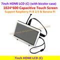 7 hdmi-дюймовый ЖК-1024*600 Емкостный Сенсорный Экран Поддержка Raspberry Pi BB Черный & Banana Pi/Pro и Различные Системы