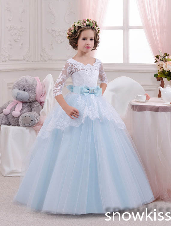 White and Blue lace Flower Girl Dresses Birthday Party Pageant prom frocks first communion ball gowns for juniors with sleeves
