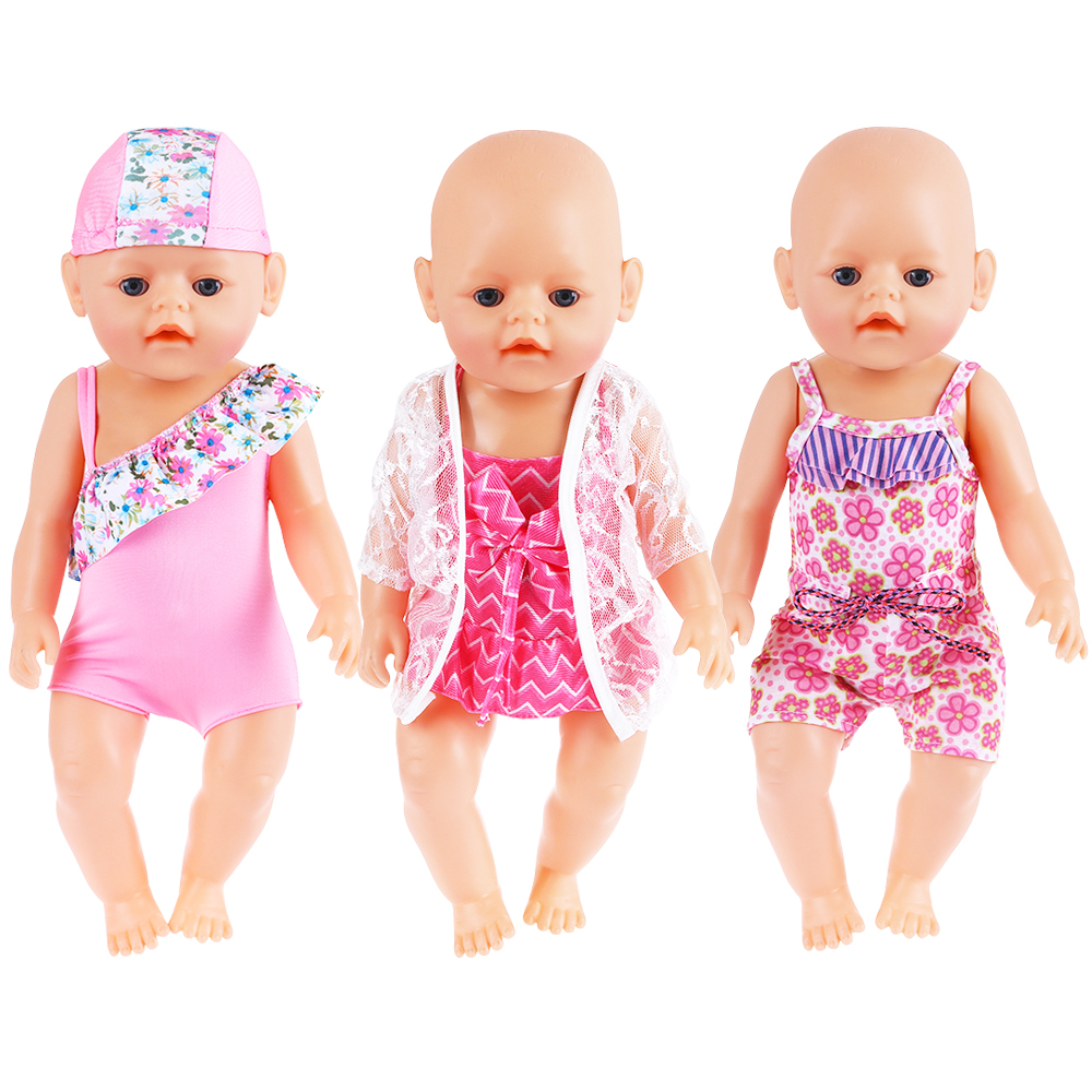 Hot Summer Set For 18 American Girl Doll Bikini + Cap Summer Swimming Suit With Hat also Fit for 43cm Baby Born Doll Clothes [mmmaww] christmas costume clothes for 18 45cm american girl doll santa sets with hat for alexander doll baby girl gift toy