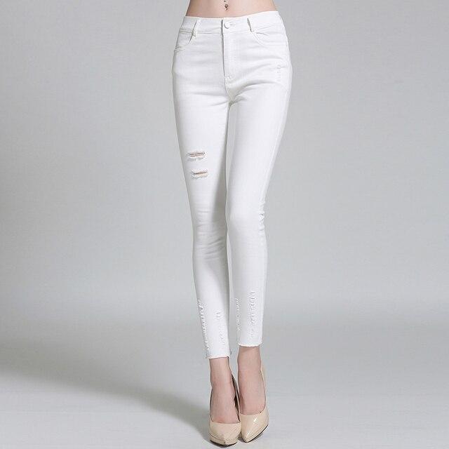 13ffc031e 2017 nuevas mujeres del diseño de primavera otoño agujeros huecos mujeres  flacas pantalones lápiz pantalones más