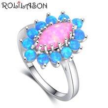 Кольцо с голубым опалом и серебряным покрытием в форме цветка